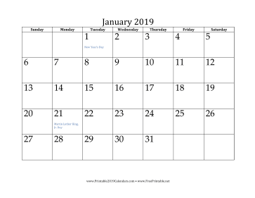 photo about Calendar for Printable named Printable January 2019 Calendar