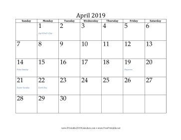 graphic regarding Printable Calendar April called Printable April 2019 Calendar