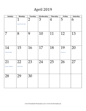 graphic regarding Vertical Calendar Printable called Printable April 2019 Calendar (vertical)