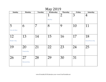 picture regarding Printable May Calendars named Printable May possibly 2019 Calendar