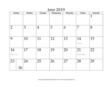 picture relating to Free Printable June Calendar referred to as Printable June 2019 Calendar