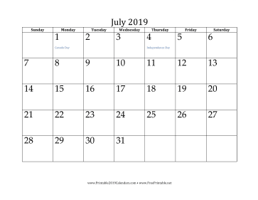 photograph regarding Printable July Calendar named Printable July 2019 Calendar