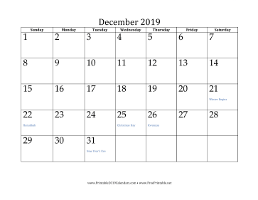 2019 monthly calendar with holidays