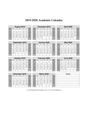 image regarding Printable School Year Calendar identified as Printable 2019-2020 Instructional Calendar