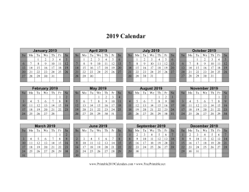 2019 Calendar on one page (horizontal shaded weekends) Calendar