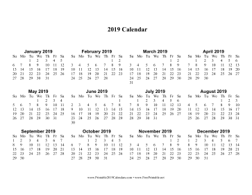 2019 Calendar one page with Large Print Calendar
