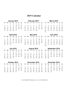 2019 Calendar one page with Large Print (vertical) Calendar