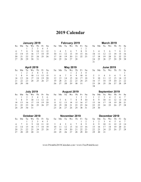 Printable 2019 Calendar On One Page Vertical