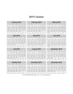 2019 Calendar on one page (vertical grid) Calendar
