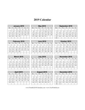 2019 Calendar on one page (vertical week starts on Monday)