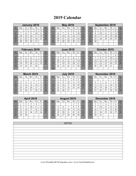 2019 Calendar on one page (vertical shaded weekends notes)
