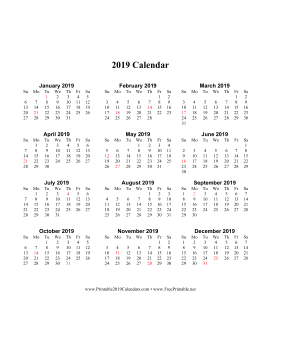 2019 Calendar on one page (vertical holidays in red)