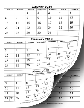 Printable 2019 Calendar Three Months Per Page