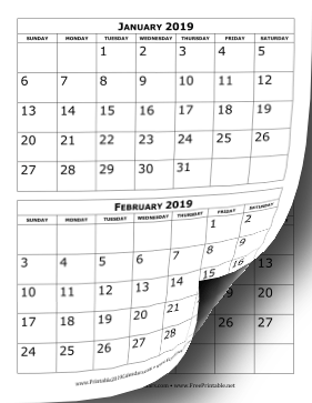 photograph about Printable Calendar Months known as Printable 2019 Calendar 2 Weeks For every Web page