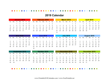 2019 Colorful Calendar