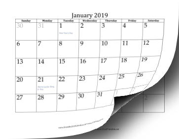 2019 Calendar with dates of adjacent months in gray