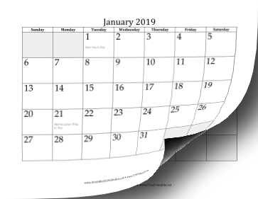 2019 Calendar with days of adjacent months in gray