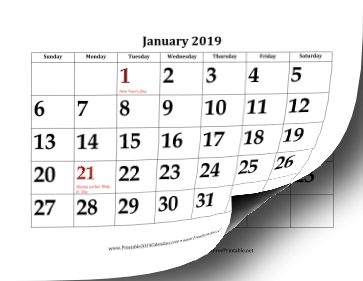 2019 Calendar with Large Dates