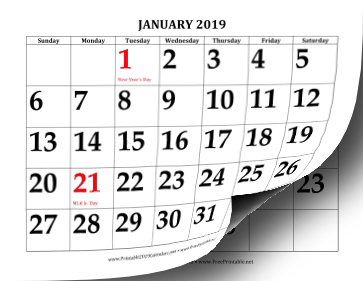 photo relating to Free Large Printable Numbers identified as Printable 2019 Calendar with Major Print