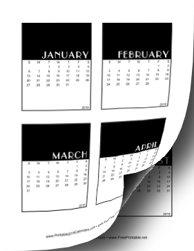 2019 Vertical Scrapbook Calendar Cards