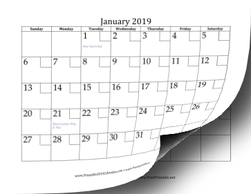 2019 Calendar with Checkboxes