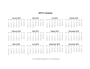 2019 Calendar (horizontal descending holidays in red) calendar