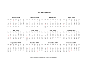2019 Calendar on one page (horizontal holidays in red) calendar