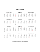 2019 Calendar (vertical descending holidays in red) calendar