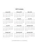 2019 on one page (vertical holidays in red) calendar