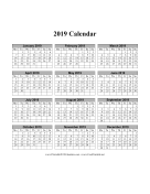2019 on one page (vertical months run across page week starts on Monday) calendar