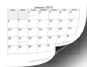 2019 with days of adjacent months in gray calendar