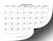 2019 with Checkboxes calendar